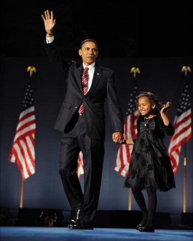 Senator Barack Obama and his daughter Sasha on election nigh