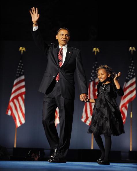 BARACK AND SASHA OBAMA ON ELECTION DAY, 2008