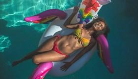 Carefree on inflatable unicorn