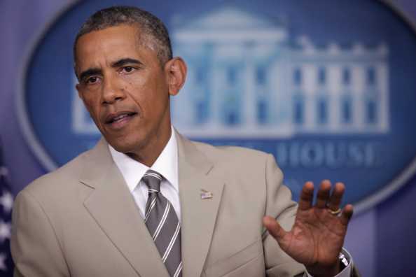 President Obama Makes Statement In The Briefing Room Of White House