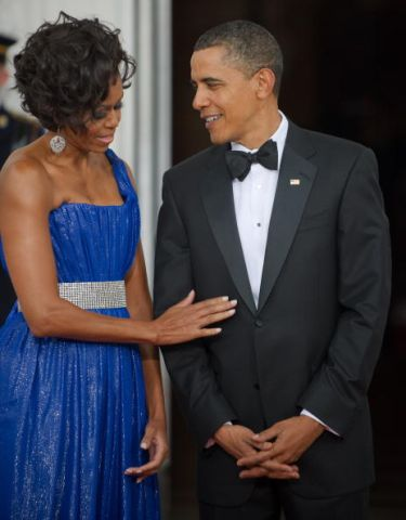 US President Barack Obama gets a touch u