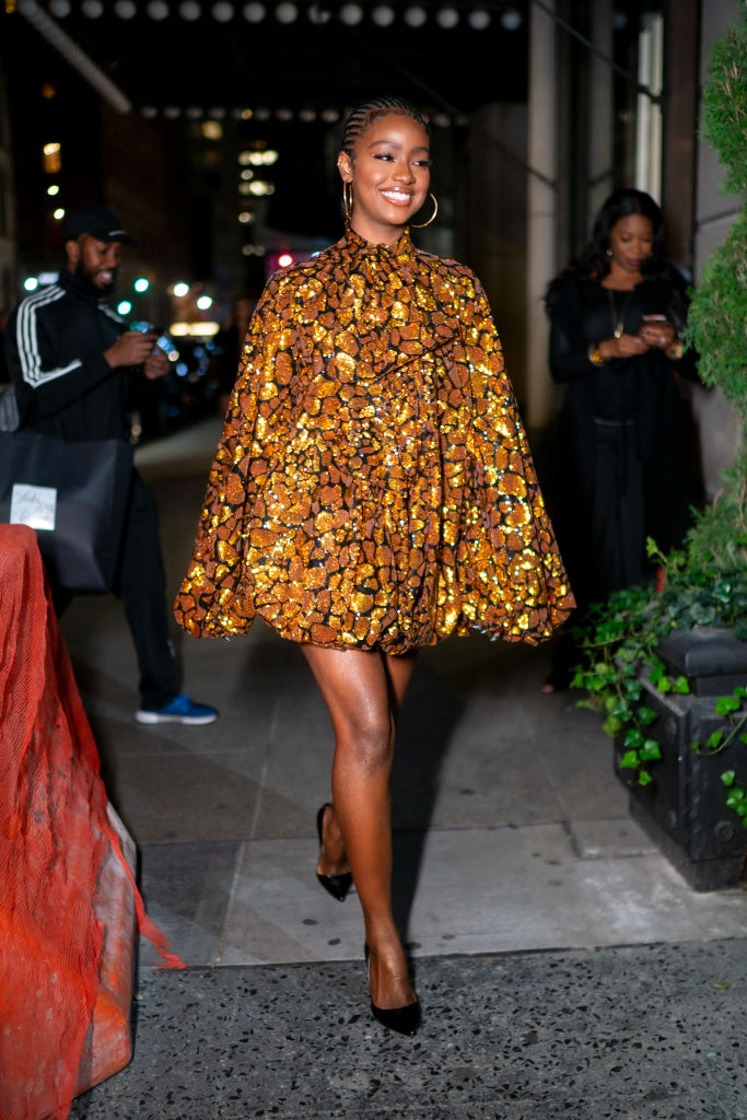 JUSTINE SKYE AT THE BALMAIN COCKTAIL PARTY, 2019
