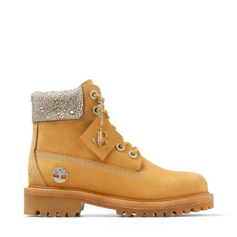Jimmy Choo x Timberland Wheat Nubuck Leather Boots with Crystal Collar