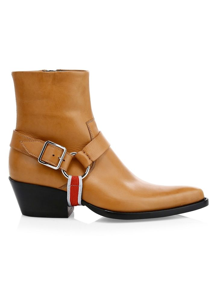 CALVIN KLEIN'S TEX HARNESS LEATHER ANKLE BOOTS, $572.99