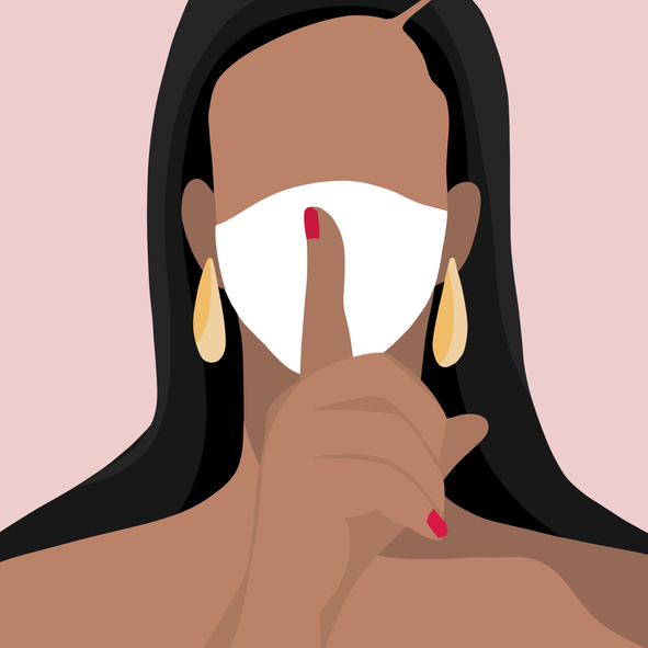 A Women Wearing A Surgical Mask and Hand sign