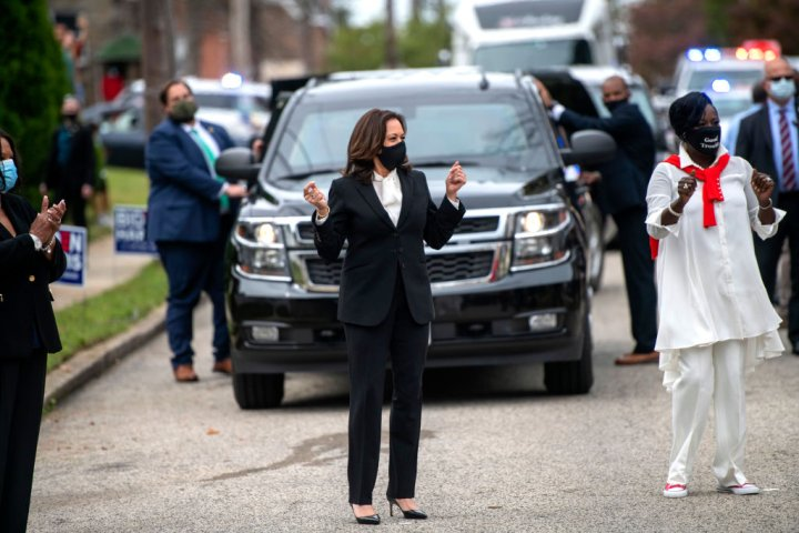 Democratic Nominee For Vice President Kamala Harris Campaigns In Philadelphia