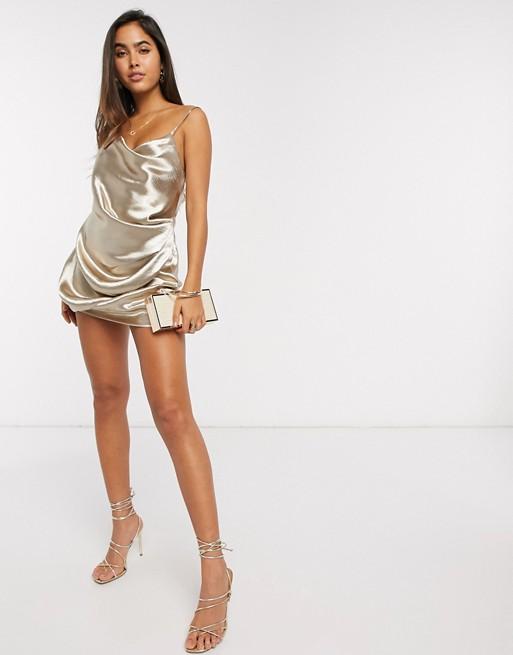 ASOS DESIGN drape slip mini dress in high shine Champagne satin