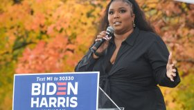 Lizzo Campaigns For Democratic Presidential Candidates Joe Biden And Kamala Harris