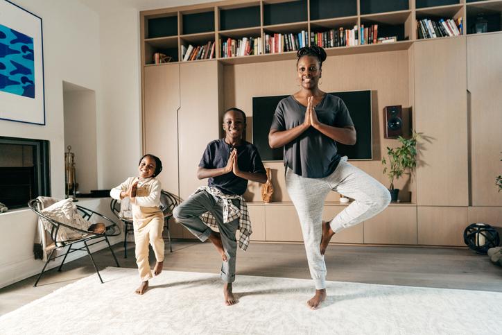 Beautiful zen family at home
