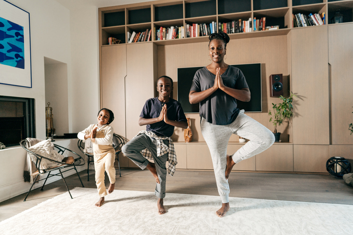 Beautiful zen family at home
