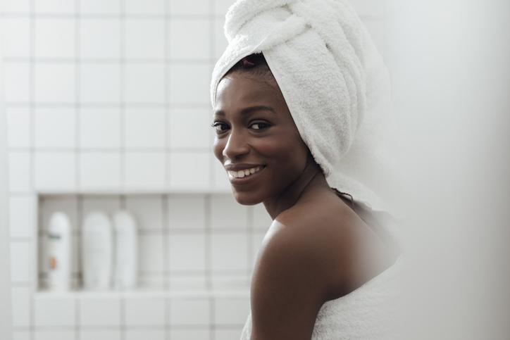 Portrait of a Woman in Bathroom