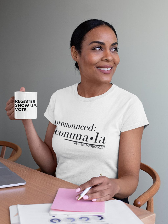 Kamala, Biden Harris T-shirt 2020, Register Show Up Vote, Election 2020, Voting Ladies T Shirt