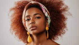 Beautiful afro girl with earrings