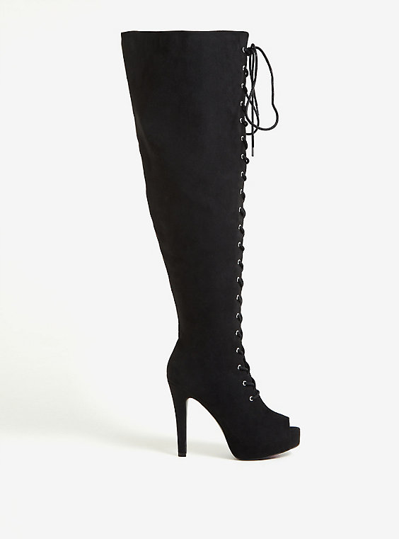 BLACK FAUX SUEDE OPEN TOE PLATFORM LACE-UP OVER-THE-KNEE BOOT (WW)
