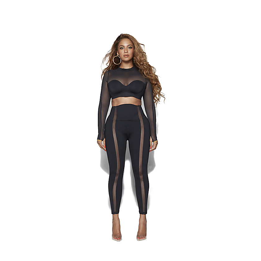 Long Sleeve Mesh Crop Top & Mesh Panel Tights