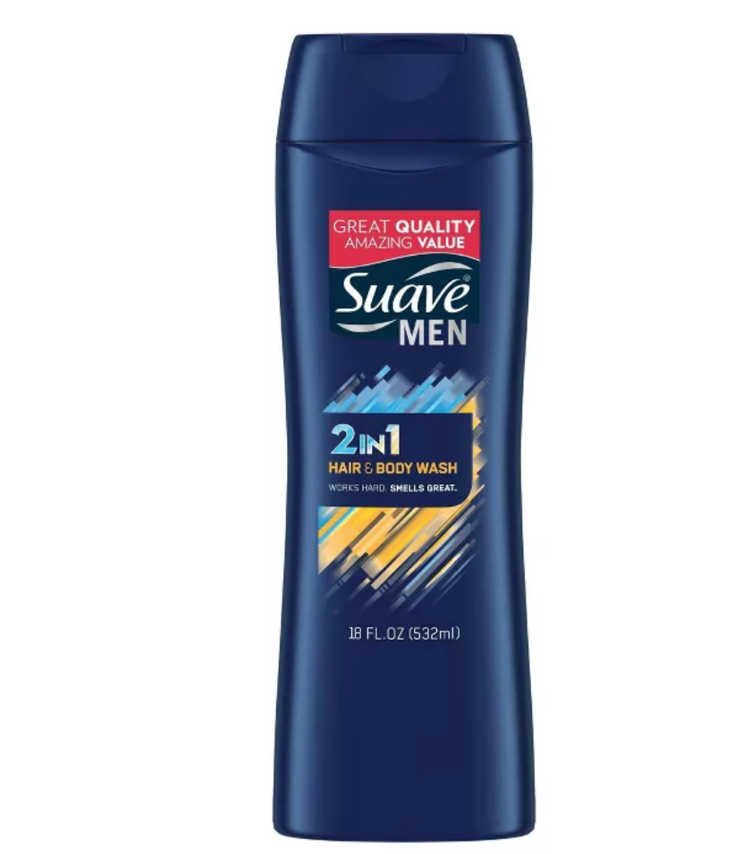 Suave Men 2-in-1 Hair Shampoo & Body Wash Soap for All Skin & Hair Types - 18 fl oz