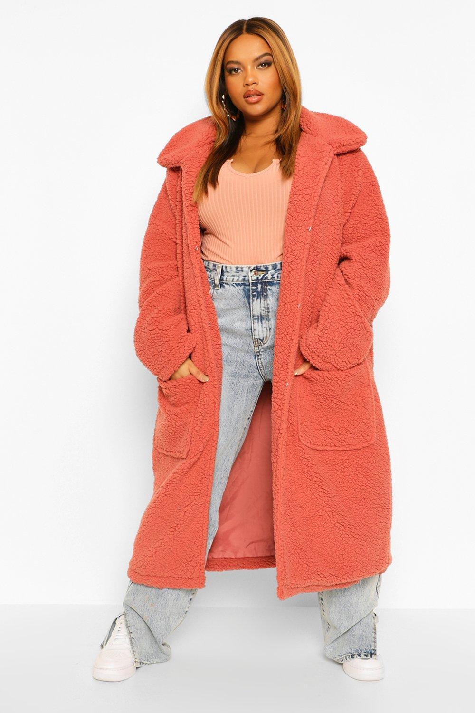 Boohoo Plus Faux Teddy Fur Maxi Length Coat