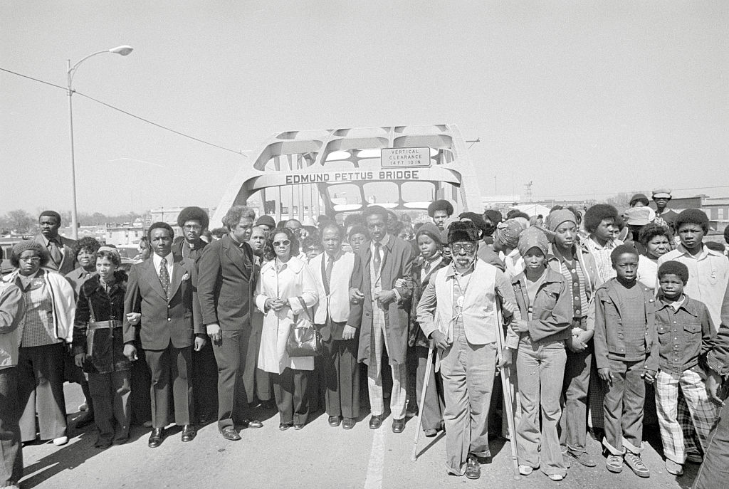 Coretta Scott King With Marching Peers Posing on Highway