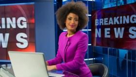 Breaking news female anchor