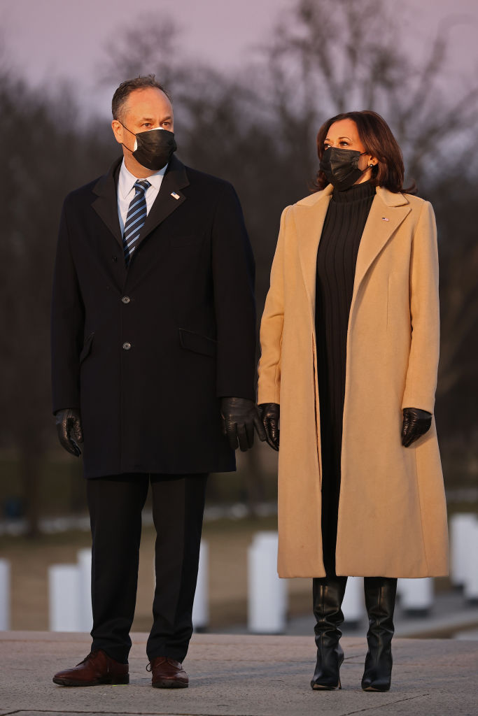 VICE PRESIDENT KAMALA HARRIS AND HUSBAND DOUGLASS EMHOFF AT THE COVID-19 MEMORIAL SERVICE, 2021