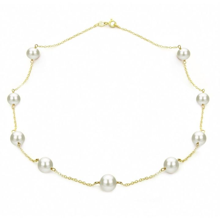 DaVonna Yellow Gold over Silver 8-9mm White Freshwater Tin-cup Station Necklace, 18""