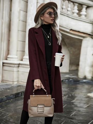 Shein Lapel Collar Button Front Overcoat