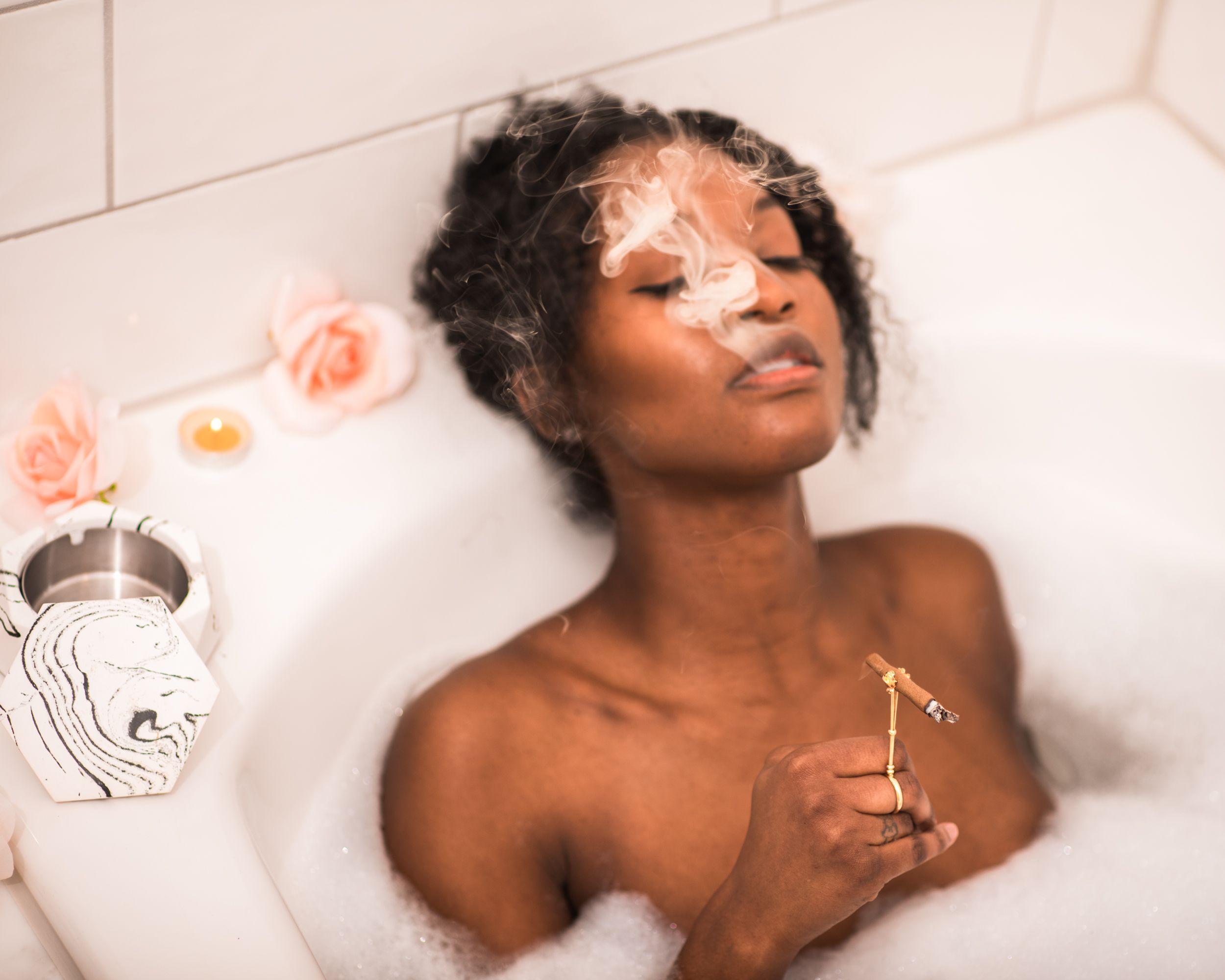 Black Woman Smoking Marijuana
