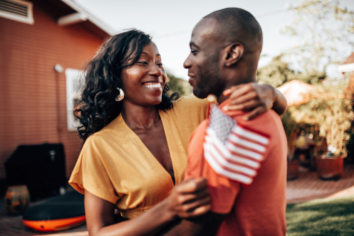couple celebrating at home the fourth of july
