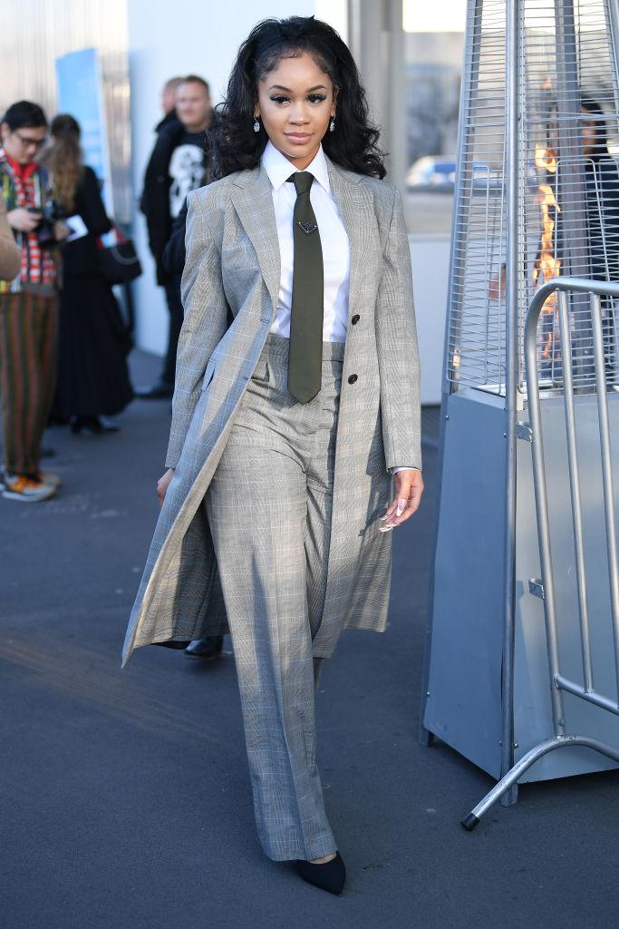 Saweetie at the Prada show during Milan Fashion Week, 2020