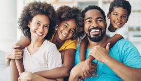 Smiling African-American family