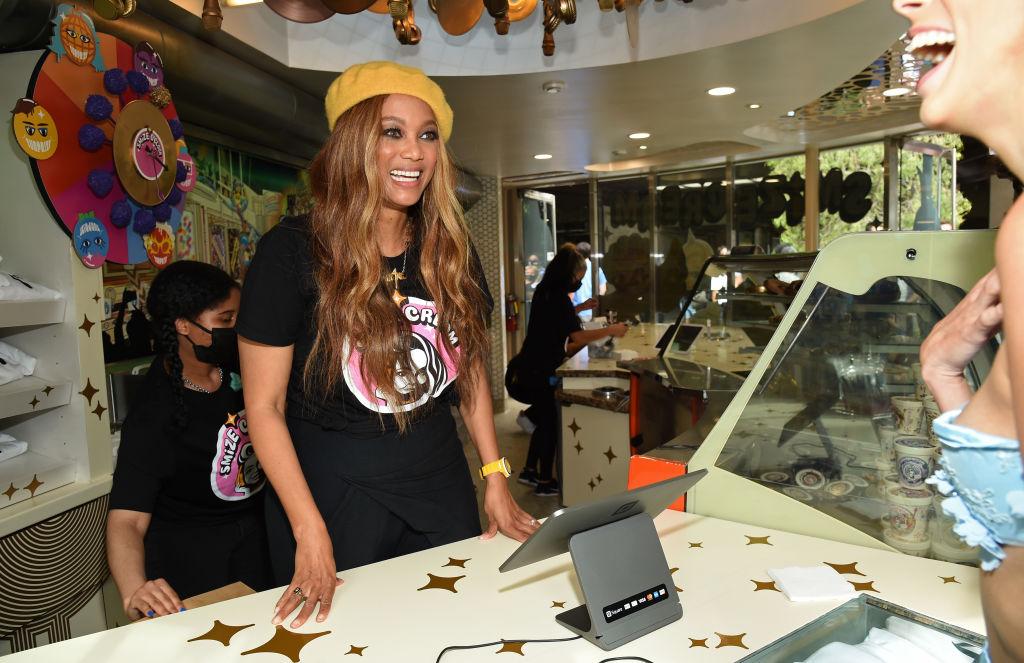 "Tyra Banks Hosts Grand Opening Of Her New Ice Cream Shop ""SMiZE Cream"" In Santa Monica, California"