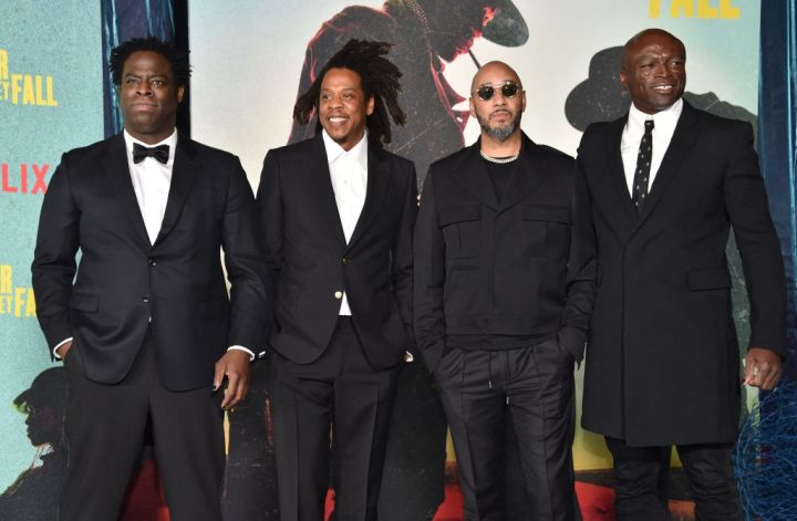 """Jeymes Samuel, Jay-Z, Swiss Beatz and Seal at the Los Angeles Premiere Of """"The Harder They Fall"""""""